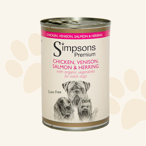 Simpsons Chicken, Venison, Salmon & Herring with Organic Vegetables Tin 400g