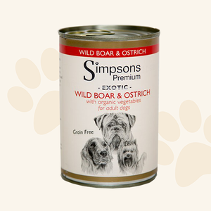 Simpsons Wild Boar & Ostrich with Organic Vegetables Tin 400g