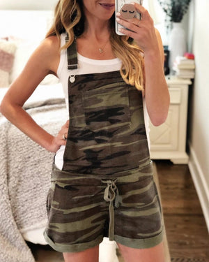 Camo Print Drawstring Rompers