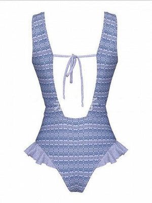 Blue Swimsuit Stripe Ruffle Trim Open Back