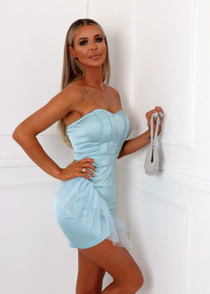 Serving Looks Satin Ruffle Dress - Baby Blue