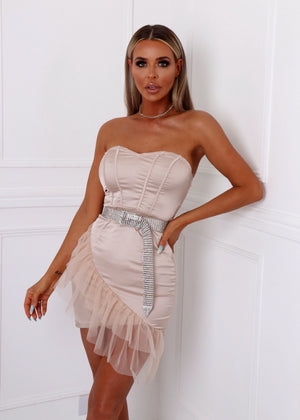 Serving Looks Satin Ruffle Dress - Nude