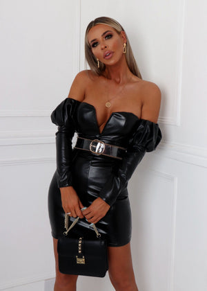 Model Behaviour Leatherette Dress - Black