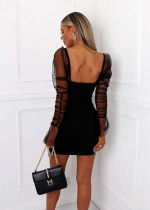 Sheer Attack Puff Sleeve Bodycon Dress - Black