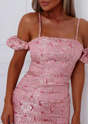 First Date Jacquard Dress - Pink