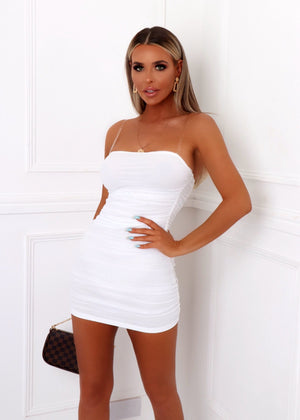 Mesh Behaviour Ruched Dress - White
