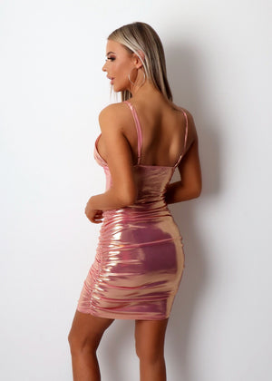 Bad Reputation Metallic Ruched Dress - Iridescent Pink