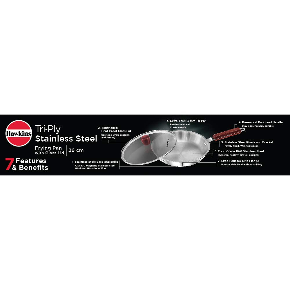 Hawkins Tri-Ply Stainless Steel Induction Compatible Frying Pan with Glass Lid, Diameter 26 cm, Thickness 3 mm, Silver (SSF26G) - Kasa's Mart