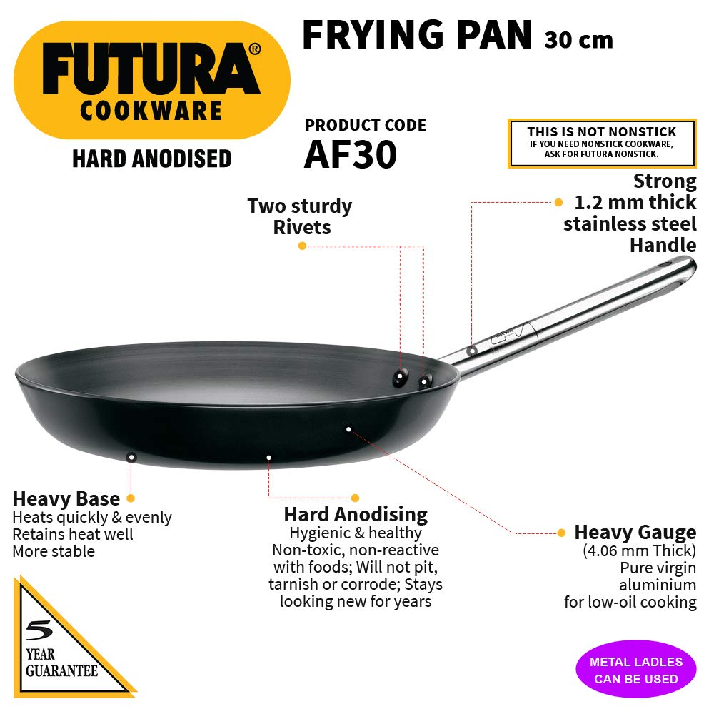 Hawkins Futura Hard Anodised Frying Pan (Stainless Steel Handle), Capacity 2.6 Litre, Diameter 30 cm, Thickness 4.06 mm, Black (AF30) - Kasa's Mart