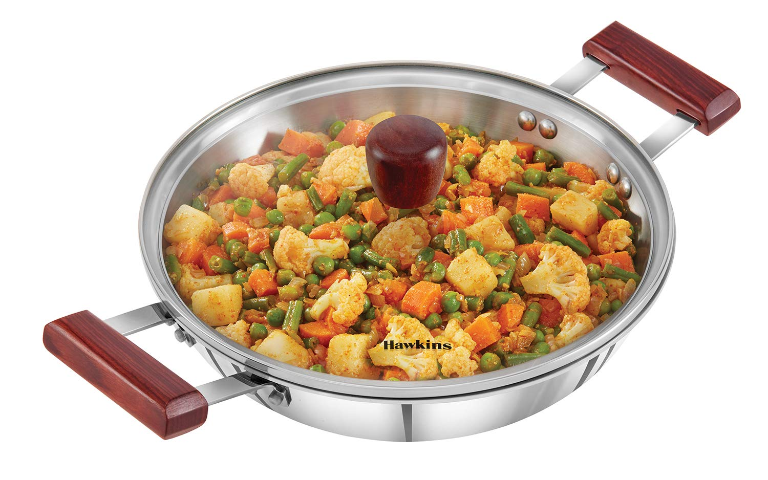 Hawkins Tri-Ply Stainless Steel Induction Compatible Deep-Fry Pan with Glass Lid, Capacity 2.5 Litre, Diameter 26 cm, Thickness 3 mm, Silver (SSD25G)