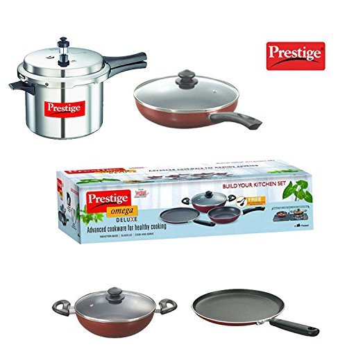 Prestige Popular 5L Pressure Cooker + Prestige Build Your Kitchen Set of 3 P Non-Stick Cookware Combo Offer