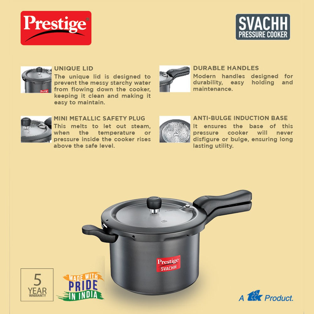 Prestige Svachh 5 L Induction Bottom Pressure Cooker  (Hard Anodized) - Kasa's Mart
