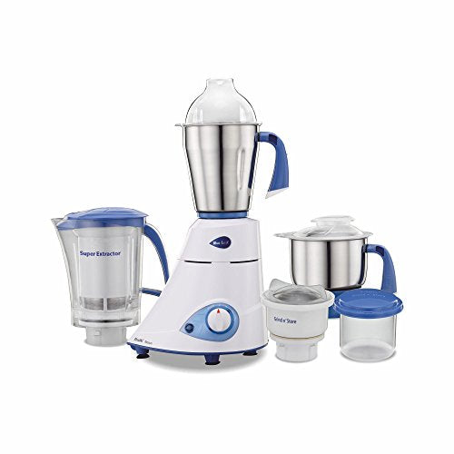 Preethi Blue Leaf Platinum MG 139 Mixer Grinder, 750W, 4 Jars (White and Blue) - Kasa's Mart