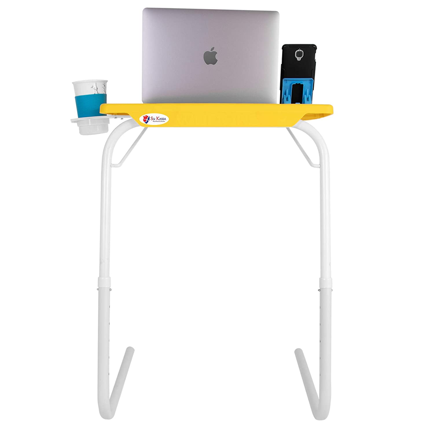 SU KASSA Wudore Series -Multi Purpose Utlity Table- Yellow with White Legs and Two Mobile Holders.