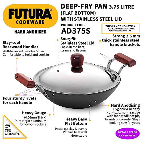 Hawkins Futura Hard Anodised Deep-Fry Pan (Flat Bottom) with Stainless Steel Lid, Capacity 3.75 Litre, Diameter 30 cm, Thickness 4.06 mm, Black (AD375S)