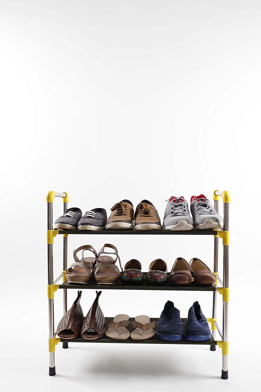 SU KASSA Multi Storage Rack Suitable to Store or Stack or Arrange Shoes, Cloths,Books Kitchen Items, Made of Stainless Steel  plastic joints and Fabric shelves