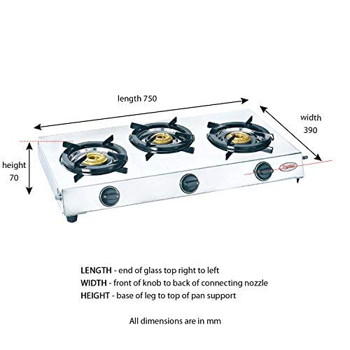 Prestige Perfect Stainless Steel 3 Burner Gas Stove, Metallic Silver - Kasa's Mart