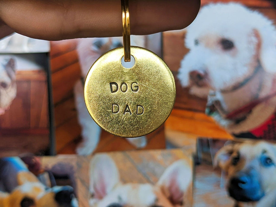 """Dog Dad"" Dog Tag Keychain Charm-My Dogs Cafe"