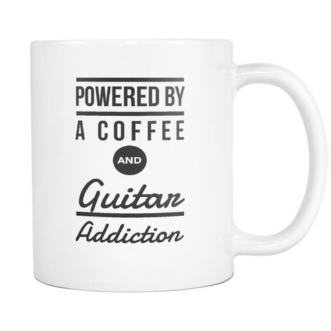 Powered By A Coffee and Guitar Addiction Mug