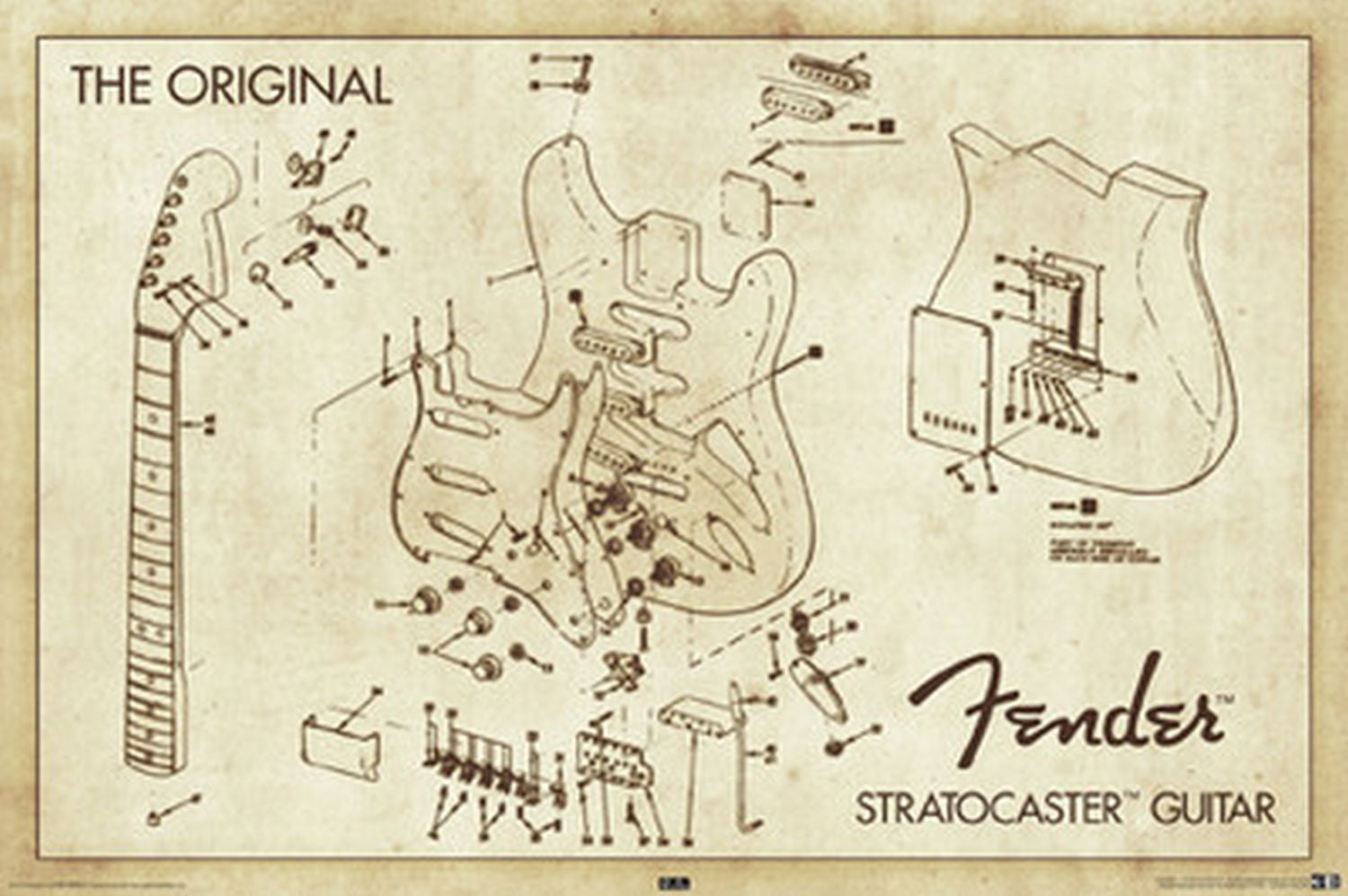 Fender Guitar Diagram Wire Data Schema Wiring Diagrams Mustang Poster Stratocaster Lost In The Guitars Rh Lostintheguitars Com Jaguar
