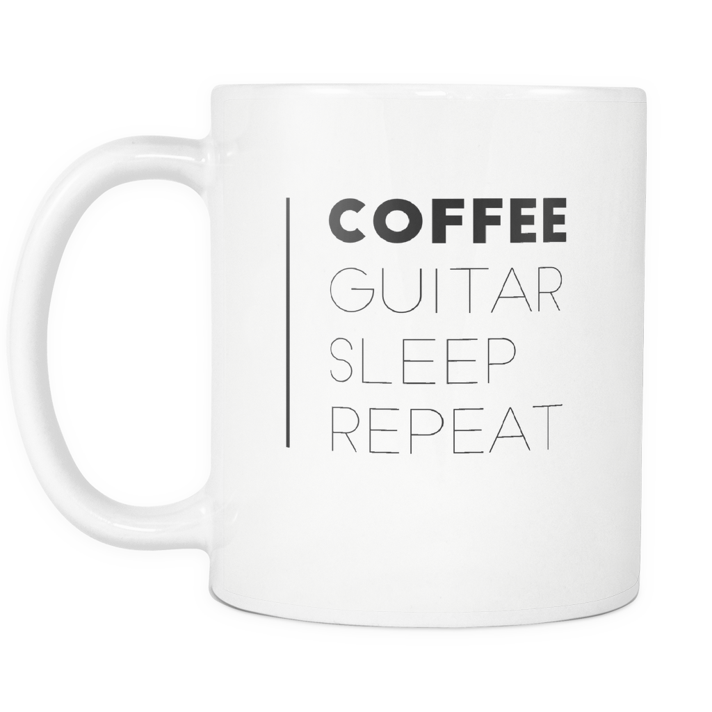 Coffee Guitar Sleep Repeat Mug