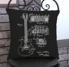Black Guitar Design Pillow Case