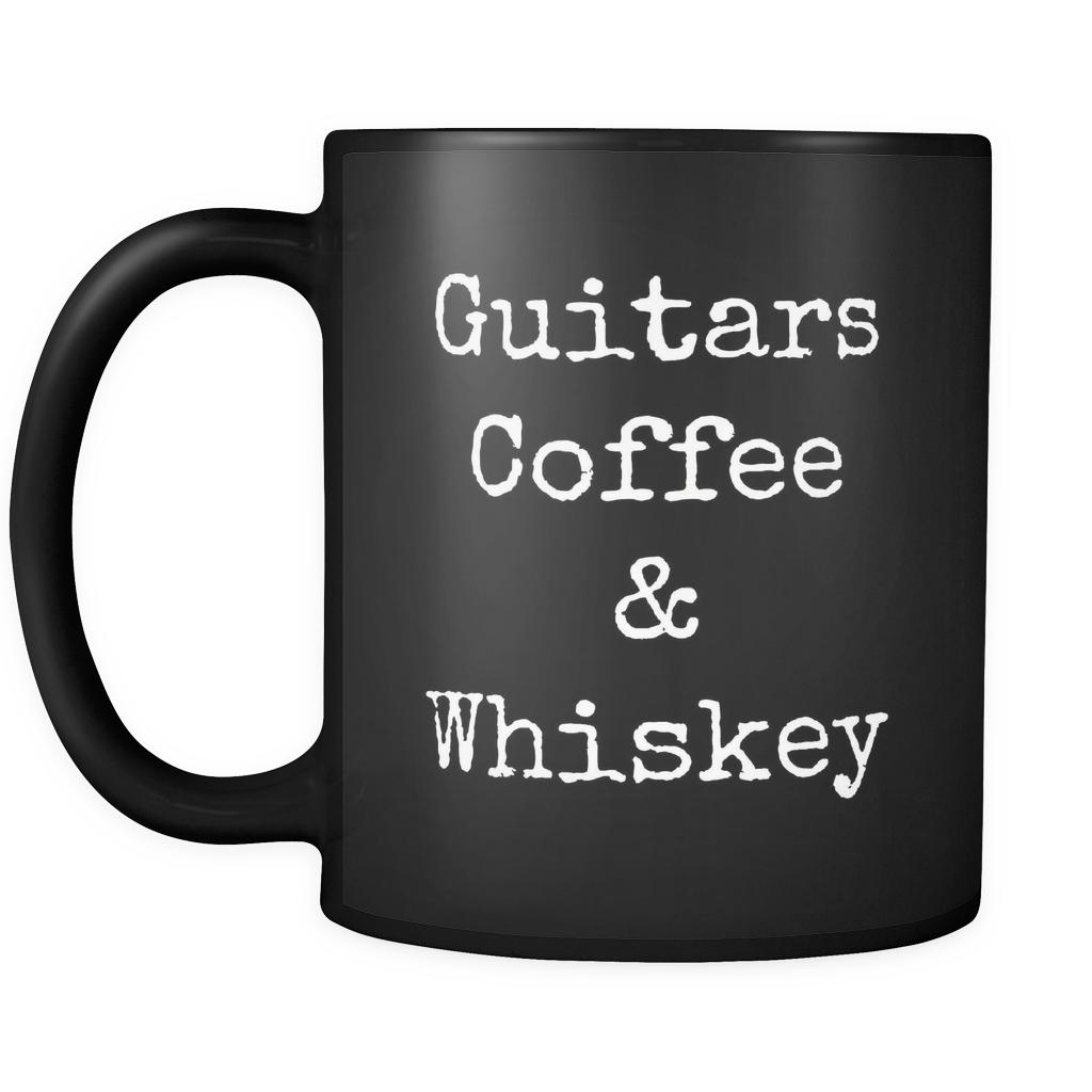 Guitars, Coffee & Whiskey Mug - Black