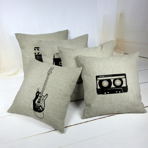 Cotton Pillow Cover - Electric Guitar / Magnetic Tape
