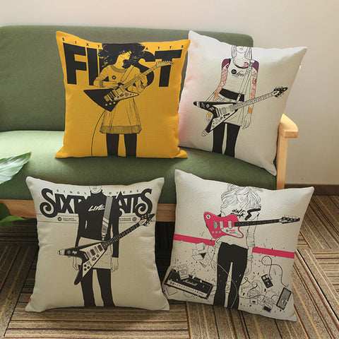 Chicks On Guitar Pillow Covers