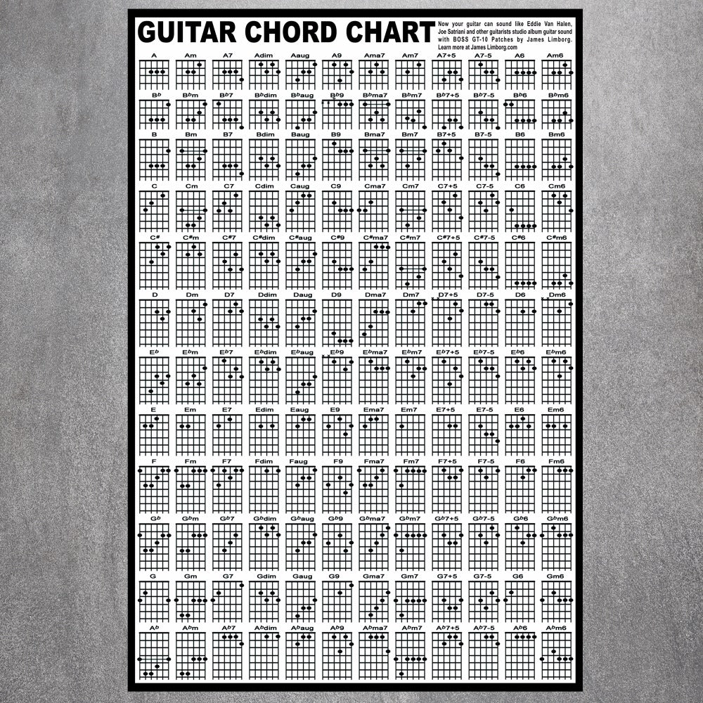 Guitar Chord Chart Poster Lost In The Guitars