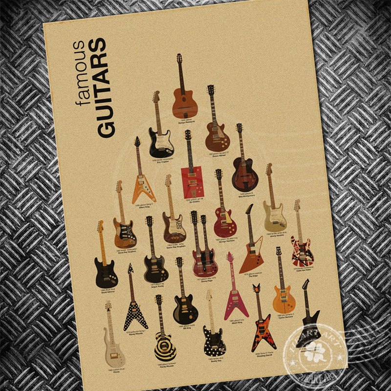 Famous Guitars Poster