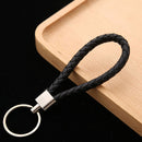 wholesale price PU Leather Braided Woven Rope keychain DIY bag Pendant Key Chain Holder Car Keyring Men Women Key ring