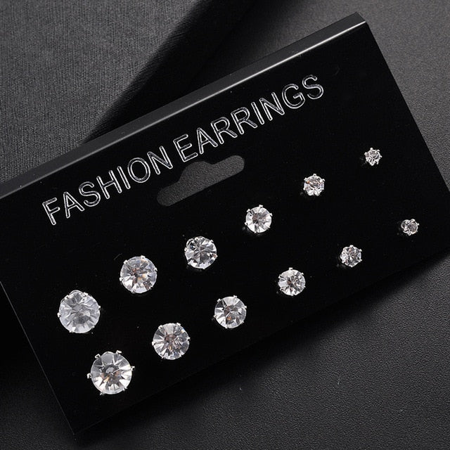 New 12 Pair/Pack White Shiny Wedding Stud Earrings Set For Women Men Crystal Jewelry Accessories Oorbellen Jewelry Earrings