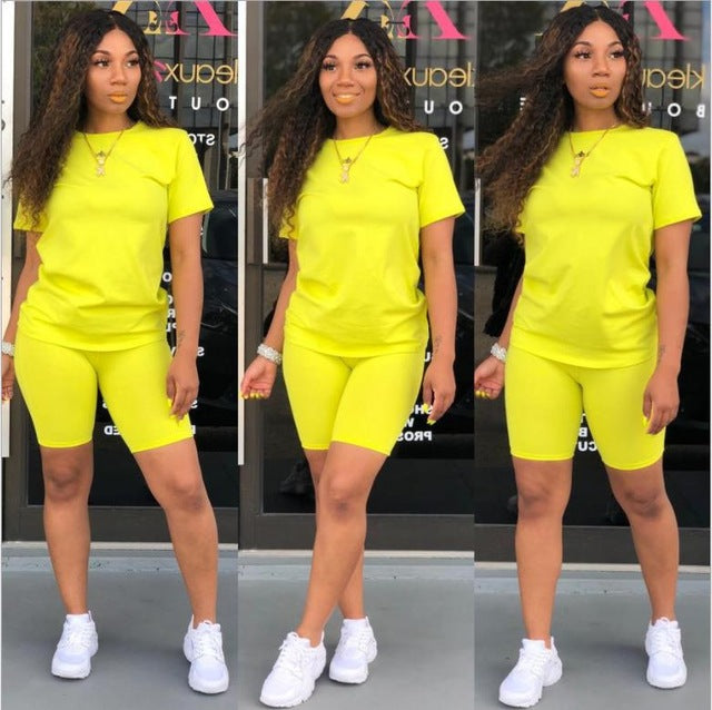 2019 new women solid sporting casual two piece set short sleeve tee