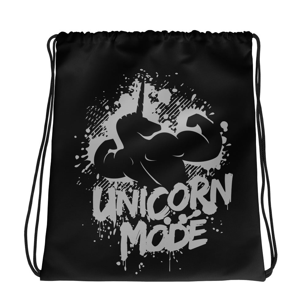 Unicorn Mode Black Drawstring bag by Unicorn Muscle