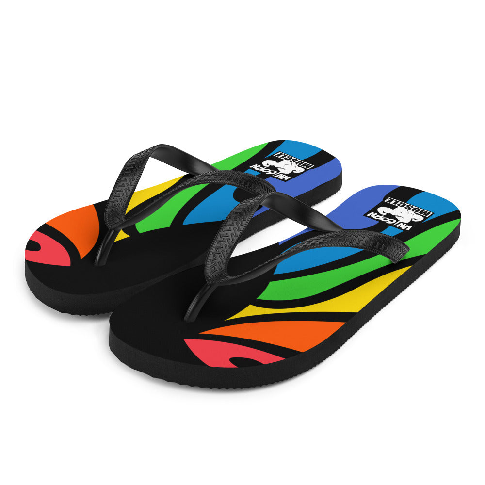 Rainbow Flames Flip-Flops by Unicorn Muscle