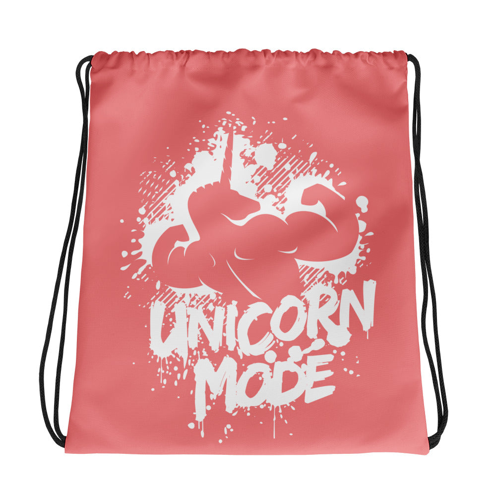 Unicorn Mode Coral Drawstring bag by Unicorn Muscle