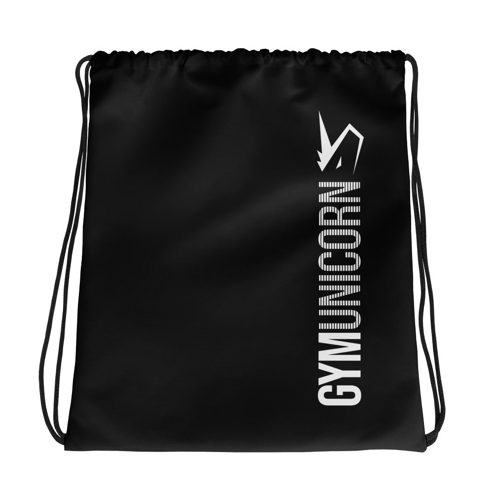 Gym Unicorn Black Drawstring Bag by Unicorn Muscle
