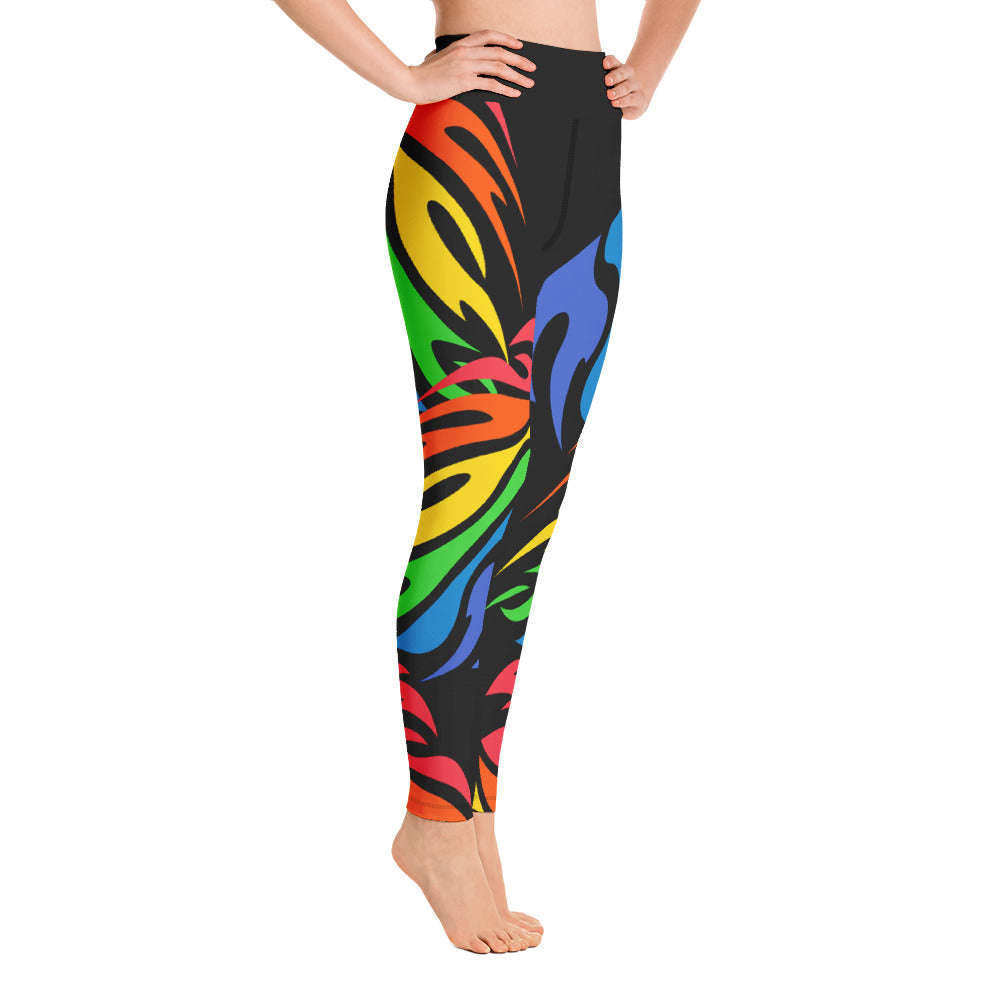 Rainbow Flame Yoga Leggings by Unicorn Muscle