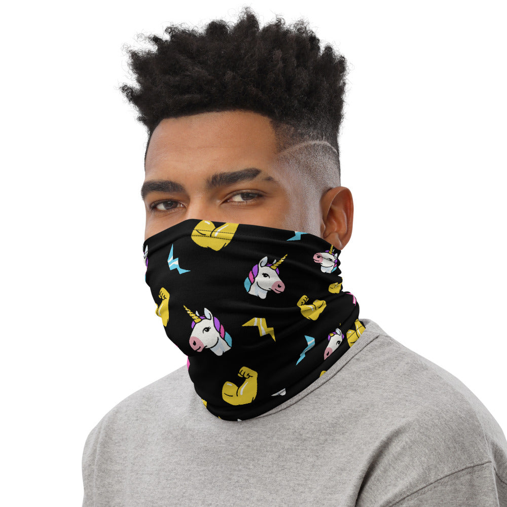 Unicorn Emojis Neck Gaiter Mask by Unicorn Muscle