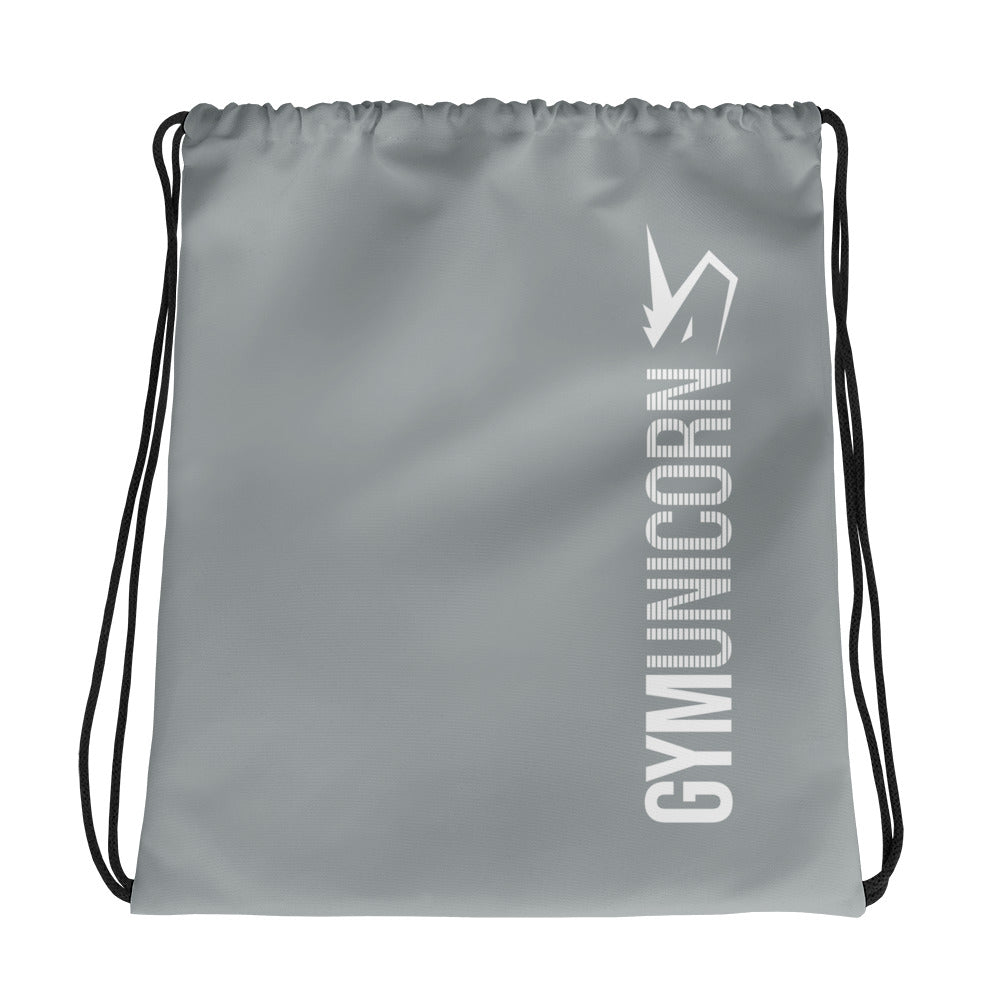Gym Unicorn Gray Drawstring bag by Unicorn Muscle