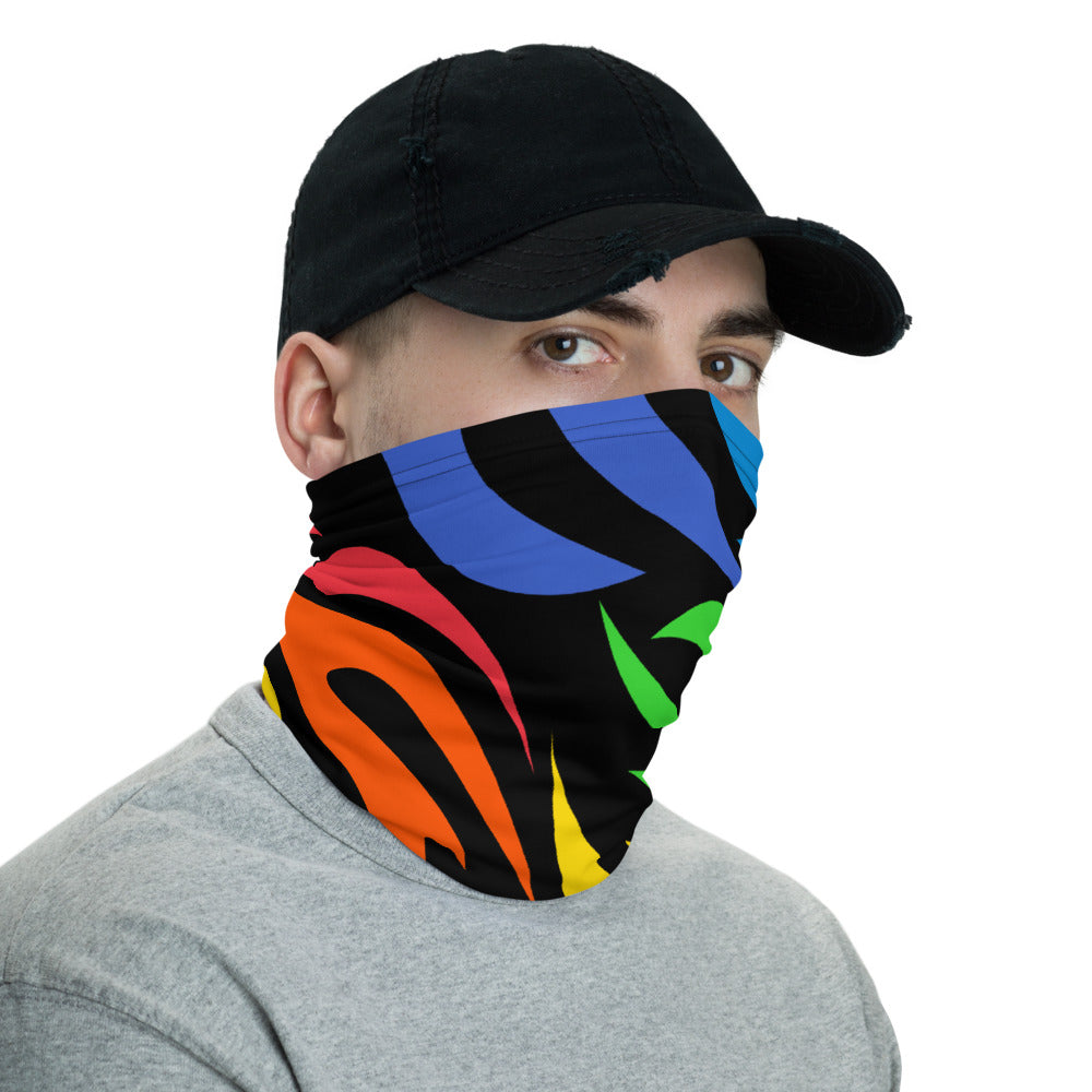 Rainbow Flames Neck Gaiter Mask by Unicorn Muscle