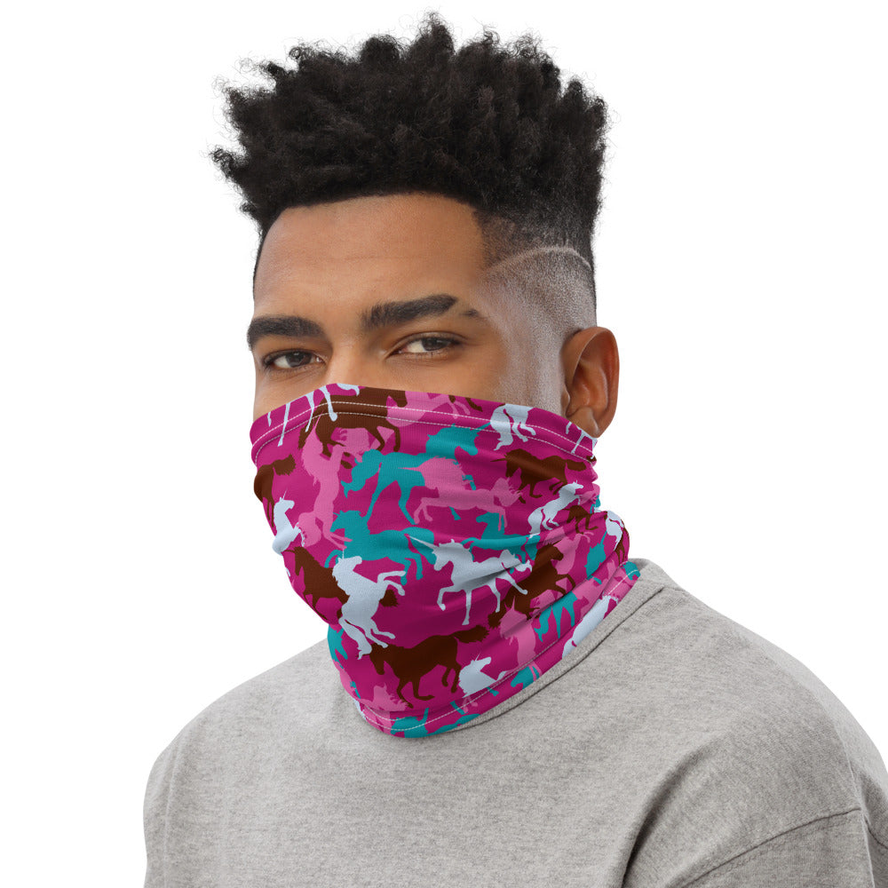 Pink Unicorn Camo Neck Gaiter Mask by Unicorn Muscle