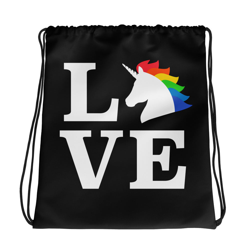 Unicorn Love Drawstring bag by Unicorn Muscle
