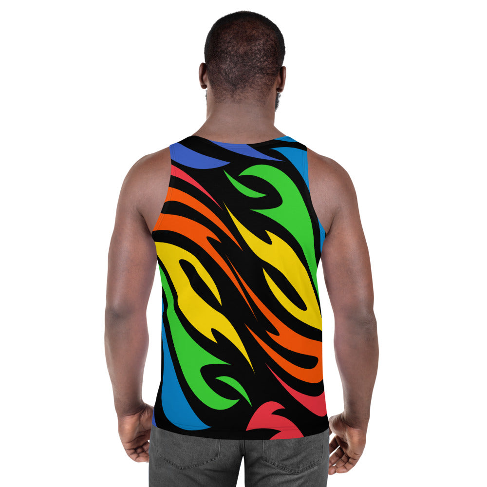 Rainbow Flames Allover Print Tank Top by Unicorn Muscle