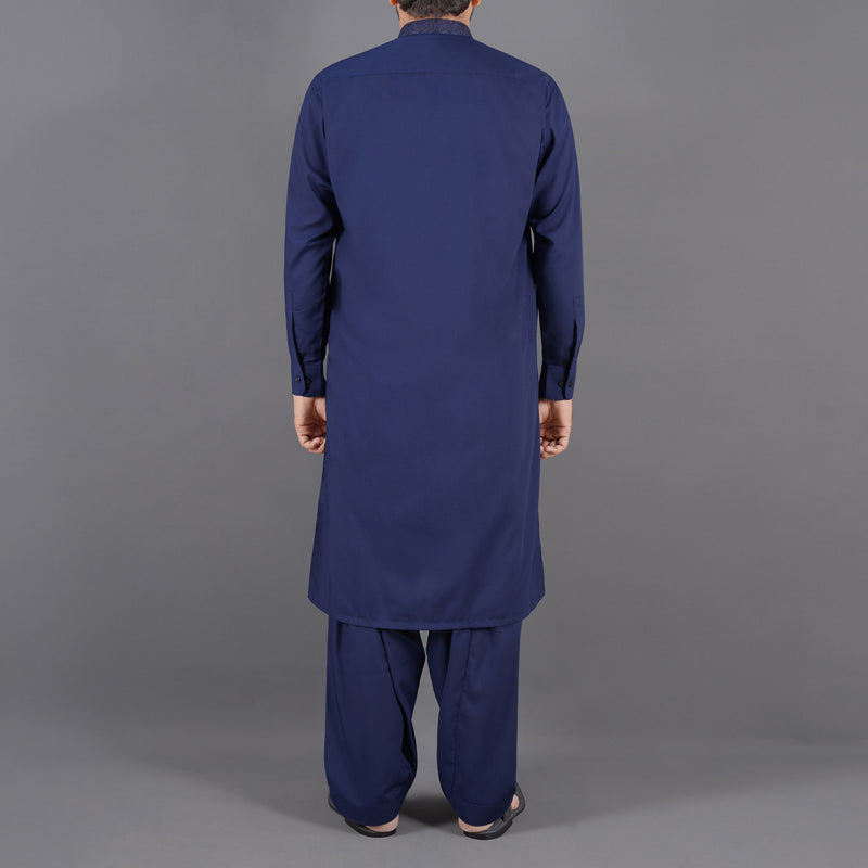 Saqafat Navy Blue Shalwar Suit