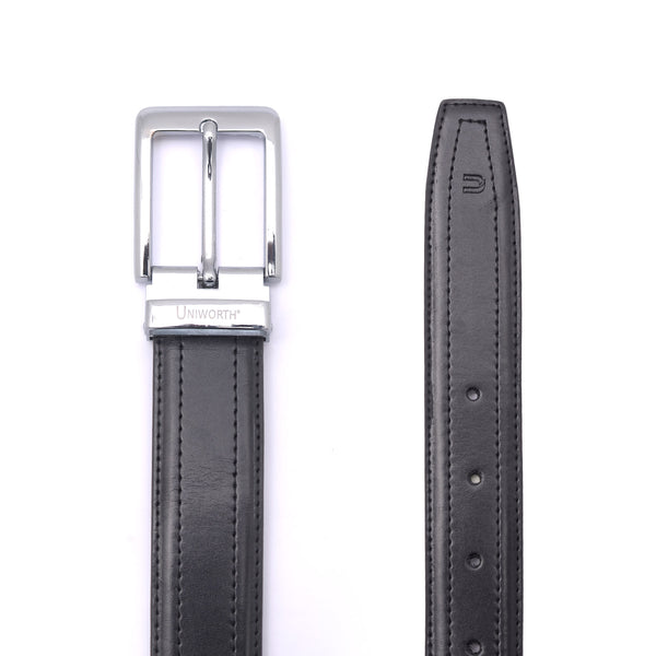 Pin Buckle Black Leather Belt