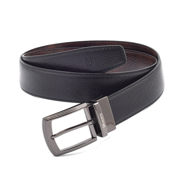 Black And Brown 2 Sided Pin Buckle Belt
