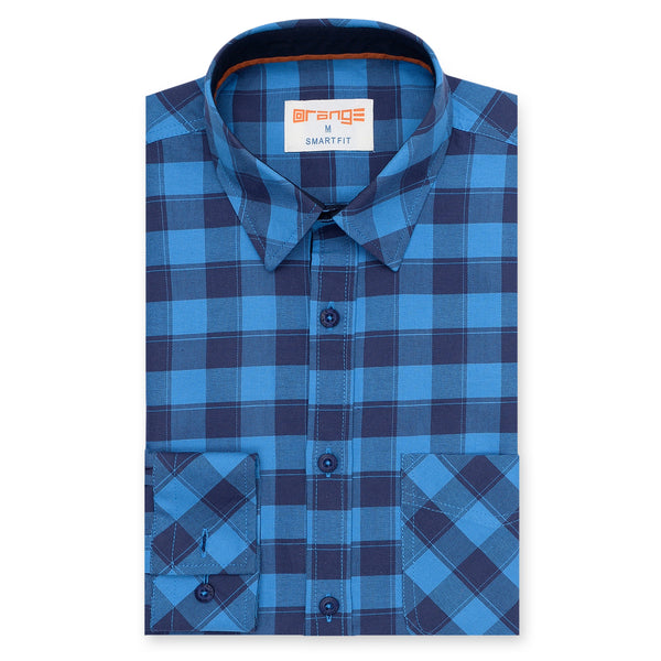 Navy Blue And Blue Broad Check Casual Full Sleeve Shirt
