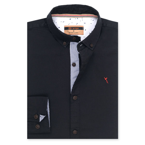 Black Plain Full Sleeve Casual Smart Fit Shirt